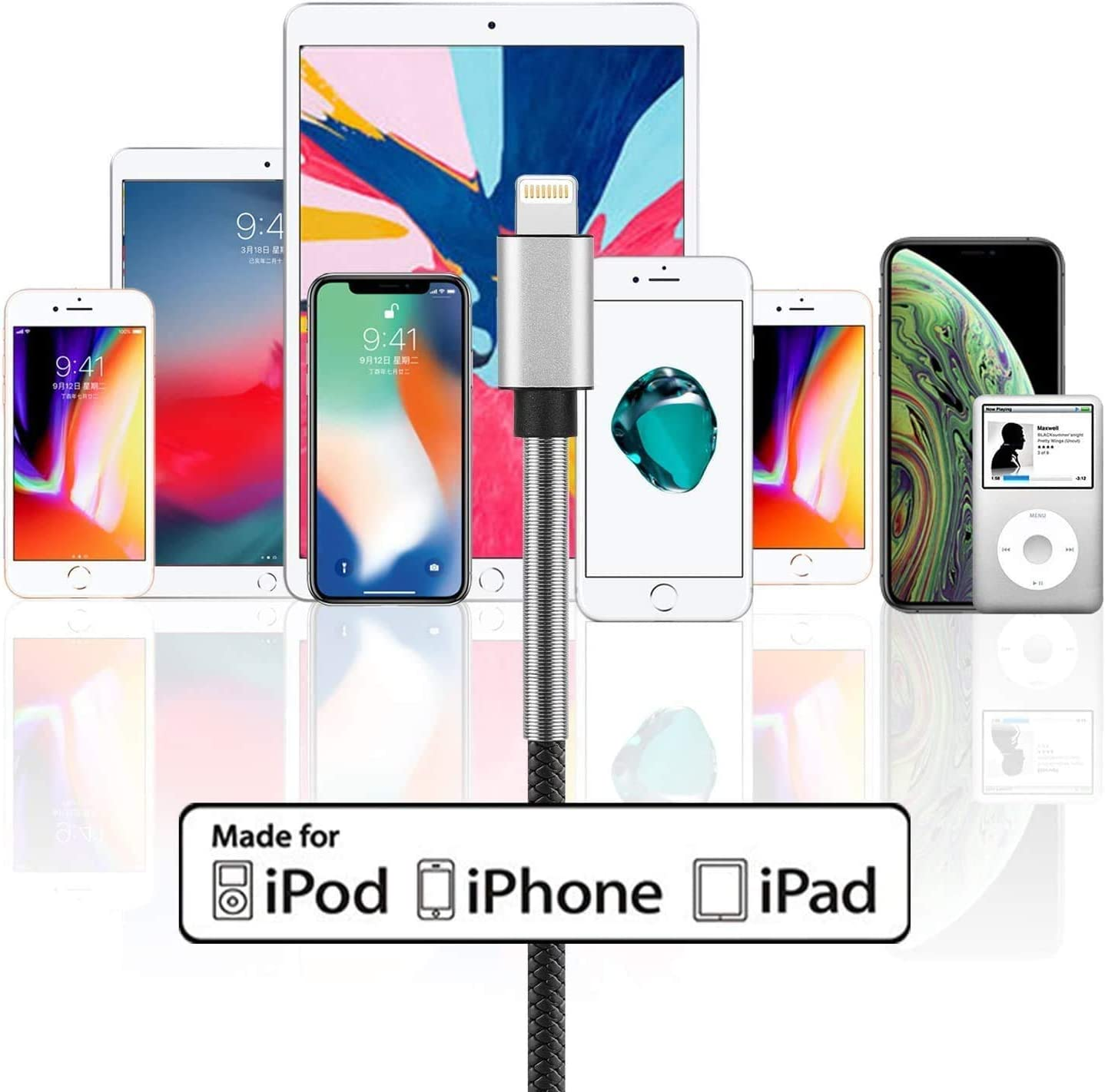6Ft MFi Certified 2Pack 6 Foot iPhone Charger Cable Cabepow Fast Charging Cord for Apple iPhone 11//11 Pro //11 Pro Max//XS//XS Max//XR//X//8//8 Plus//7//7 Plus//6//6 Plus//5//SE Lightning Cable
