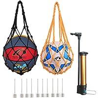 dancepandas Basketbal-draagnet 2-delige draagbare tas met enkele bal Handgeweven nylon sportbal-draagtas en 1 balpomp…