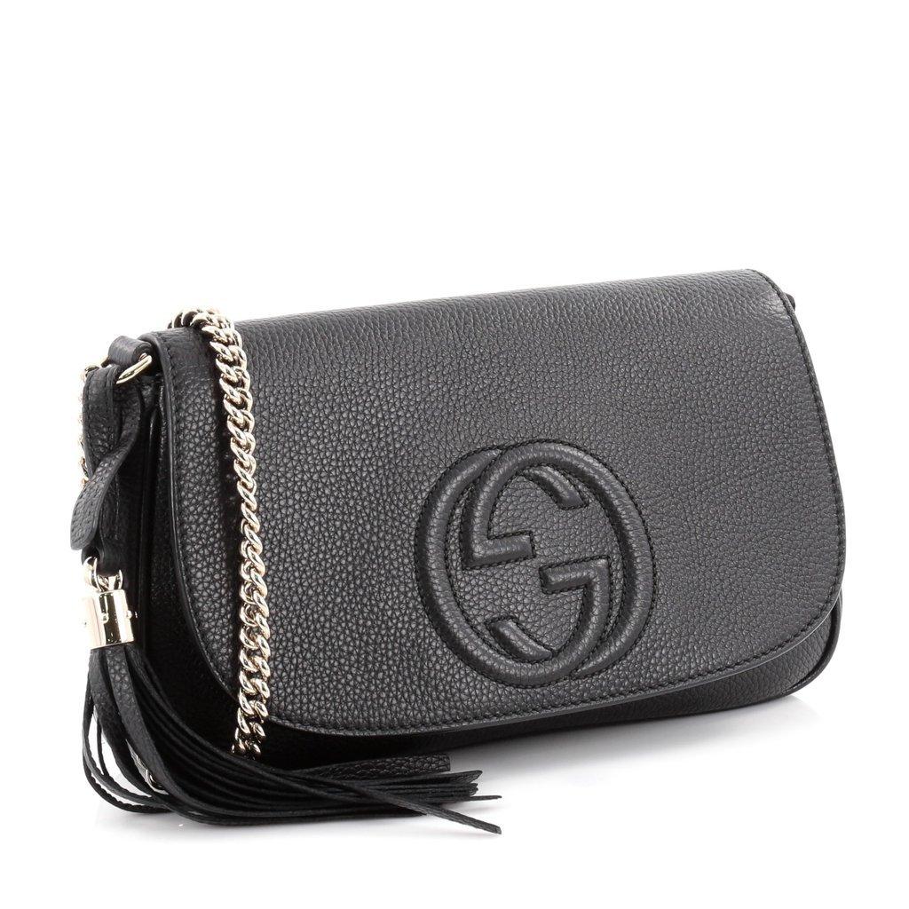 a6169984 Amazon.com: Gucci Soho Leather Flap Shoulder Bag Black Gold Tassel ...