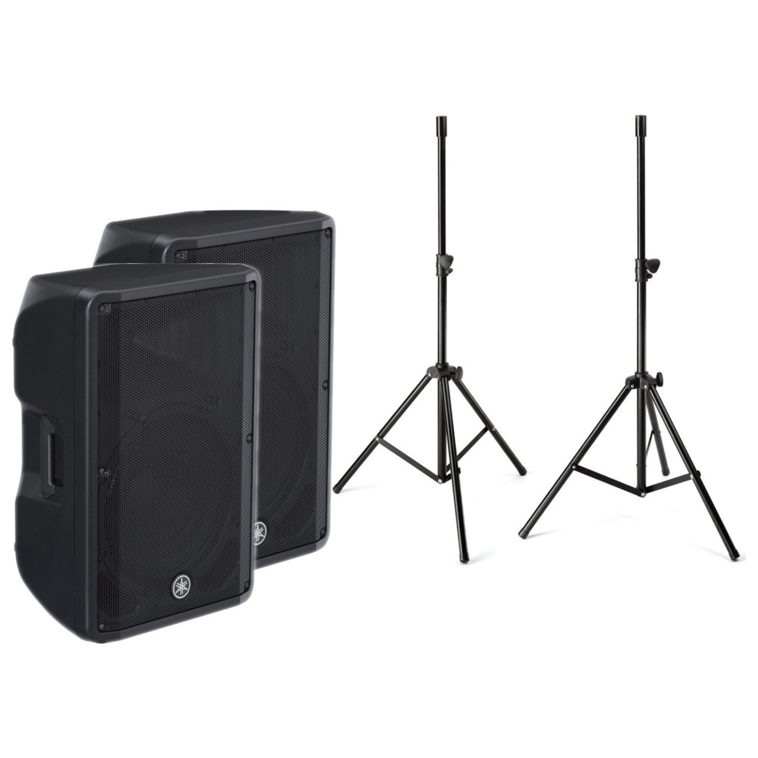 Yamaha CBR-15 15 Inch Professional Outstanding Performance 2 Way Passive Bass Reflex Powered Speaker in Black (Pair) with a pair of Speaker Stands by Yamaha