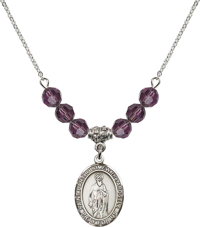 Bonyak Jewelry 18 Inch Rhodium Plated Necklace w// 6mm Purple February Birth Month Stone Beads and Saint Bartholomew The Apostle Charm