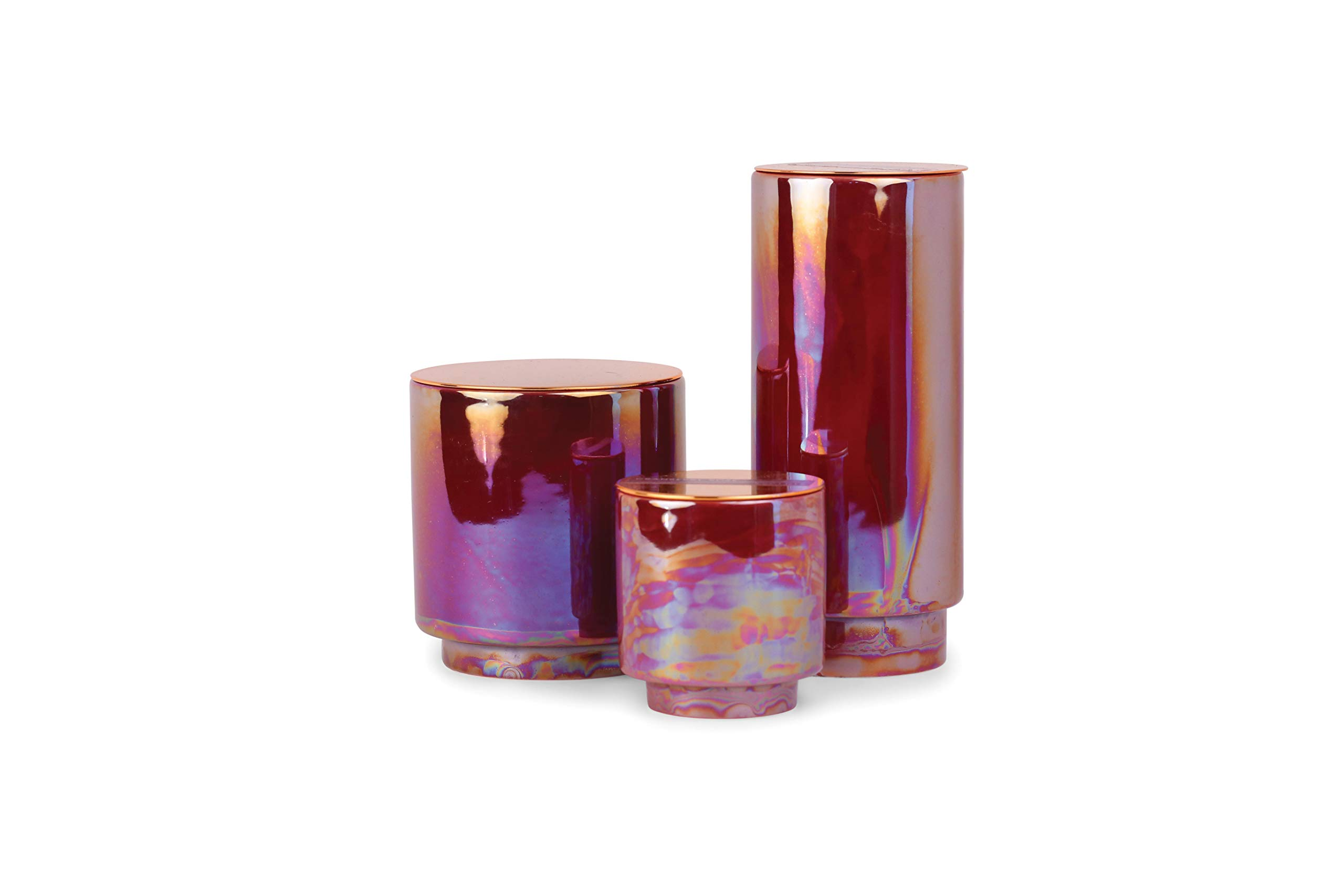 Paddywax Candles Glow Collection Scented Soy Wax Blend Candle in Iridescent Ceramic Pot, Medium- 17 Ounce, Cranberry & Rosé by Paddywax Candles (Image #3)
