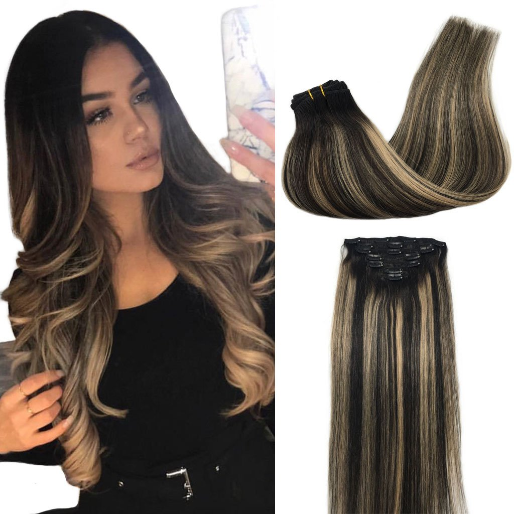 Amazon Googoo Clip In Human Hair Extensions Natural Black To