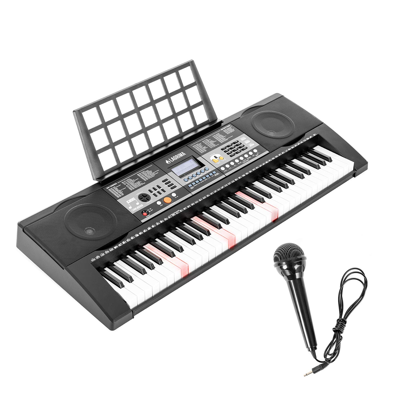 LAGRIMA LG-803 61-Key Electronic Keyboard Piano w/Light-Up Keys for Beginner(Kid & Adult), Lighted Portable Keyboard w/Micphone, Power Supply, Music Stand, Black by LAGRIMA