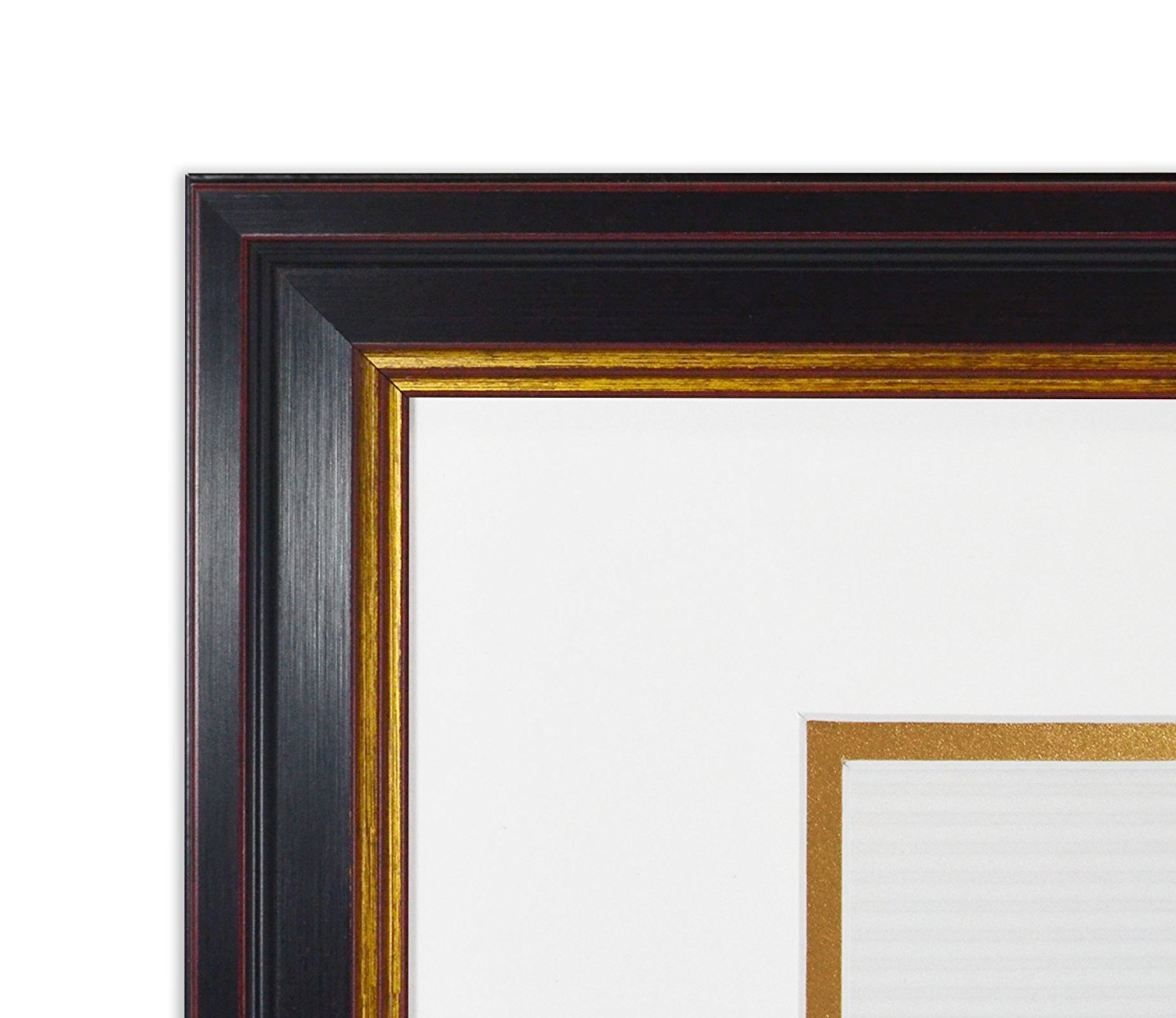Color: Black Gold /& Burgundy Wall Hang 11x14 Photo Frame for 7x9 Certificate or Photos Golden State Art and Real Glass Includes a Double Mat White//Gold