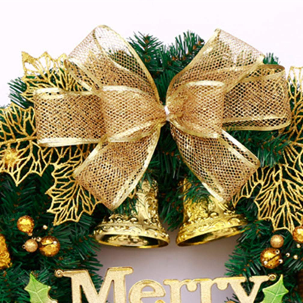 Mynse 15.7'' Artificial Pine Branch Christmas Wreath for Front Door Mall Window Hotel Christmas Decoration Christmas Ball Wreath Golden and Green by Mynse (Image #3)