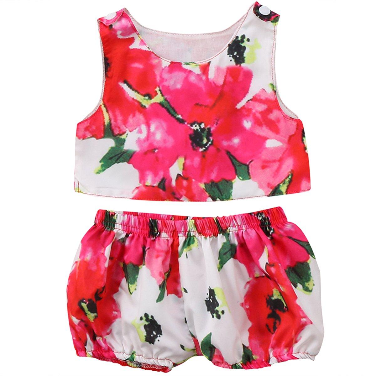 Annvivi Baby Girls Red Floral Vest Top Short Pants 2Pcs Shorts Outfit Set (Red, 18-24 Months)