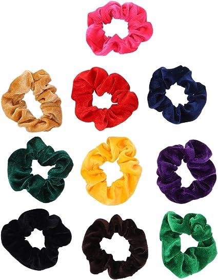 10 Pack Hair Elastics Scrunchies Scrunchy Bobbles Soft Elegant ...