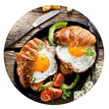 alfombrilla de ratón croissant desayuno y frito - ronda - 20cm