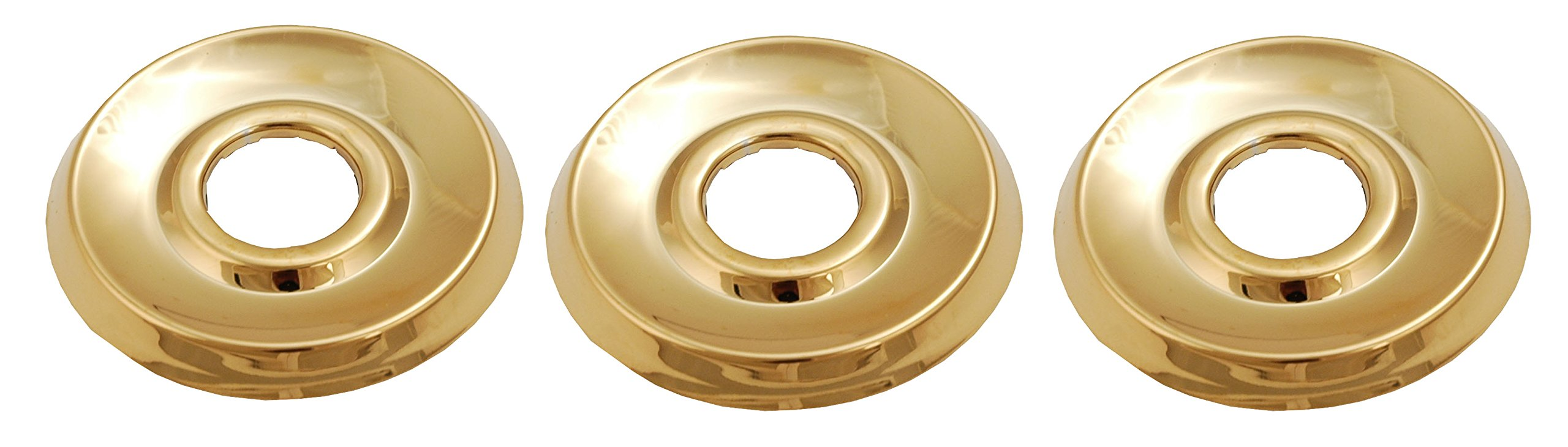 Shower Faucet Flange (3 Pieces) Fit Delta or Peerless 2- Or 3-handle Shower Valve, Polish Brass Finish - By Plumb USA