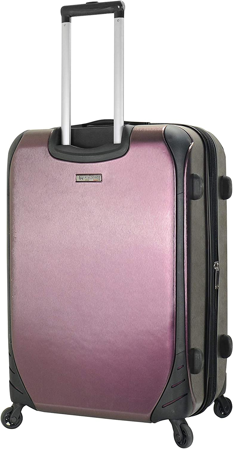 Mia Toro Italy Alongi Hardside 24 Inch Spinner Luggage Blue Metallic