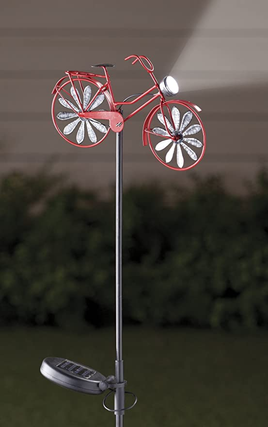 Solar Bicycle Wind Spinner by Maple Lane Creations