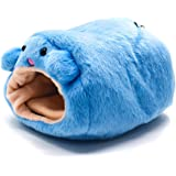 Buorsa Winter Warm Fleece Hamster Hanging Cage Hammock Cute Bear House with Bed Mat for Small Furry Animals, Blue