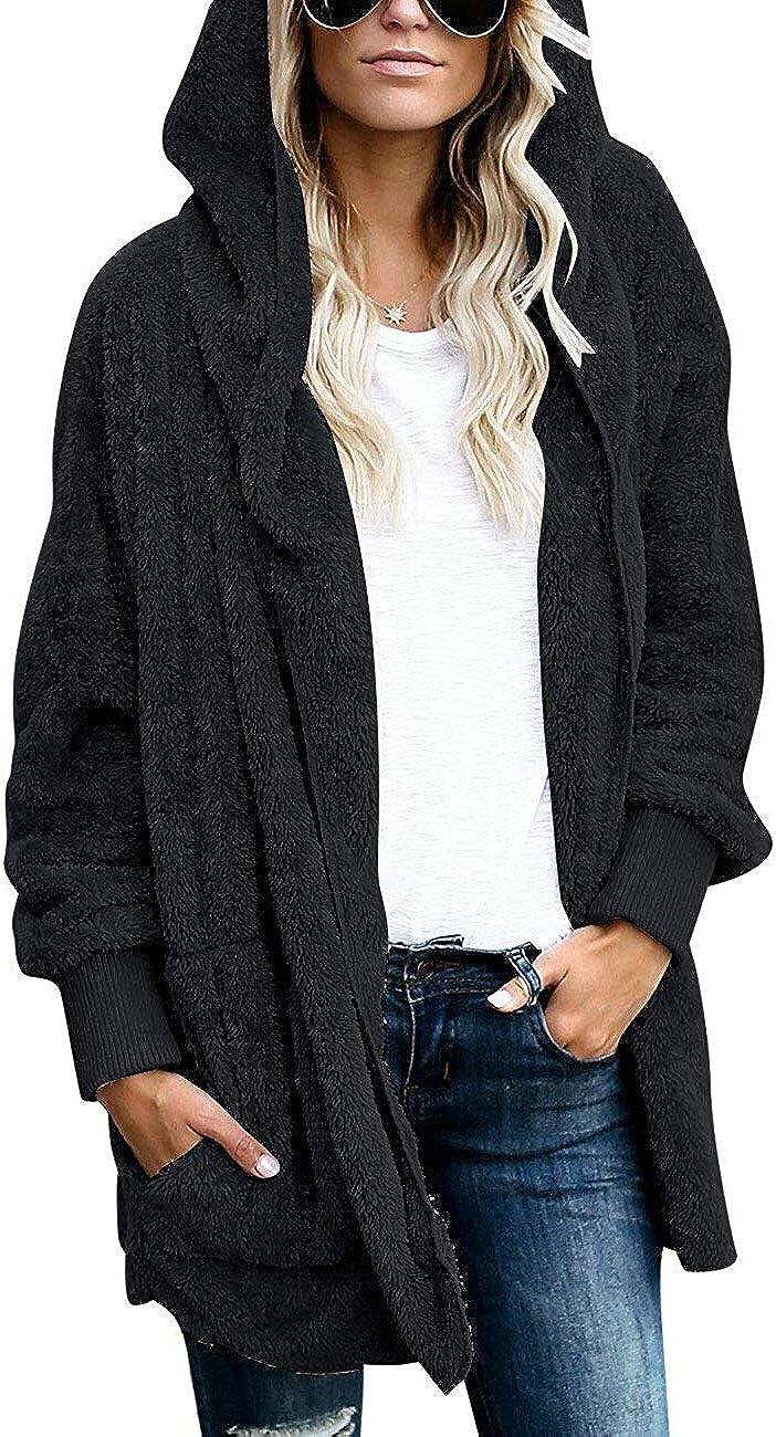 Womens Fuzzy Jacket Sherpa Coat Open Front Hooded Cardigan Outwear with Pockets