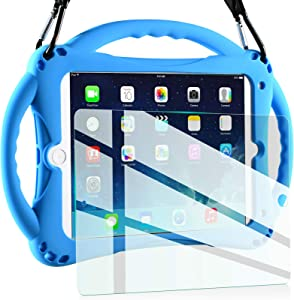 TopEsct Kids Case for New iPad 2017/2018 9.7 inch Case, Shockproof Silicone Handle Stand Case Cover&(Tempered Glass Screen Protector) For Apple iPad 6th/5th Generation and iPad Air(Blue)