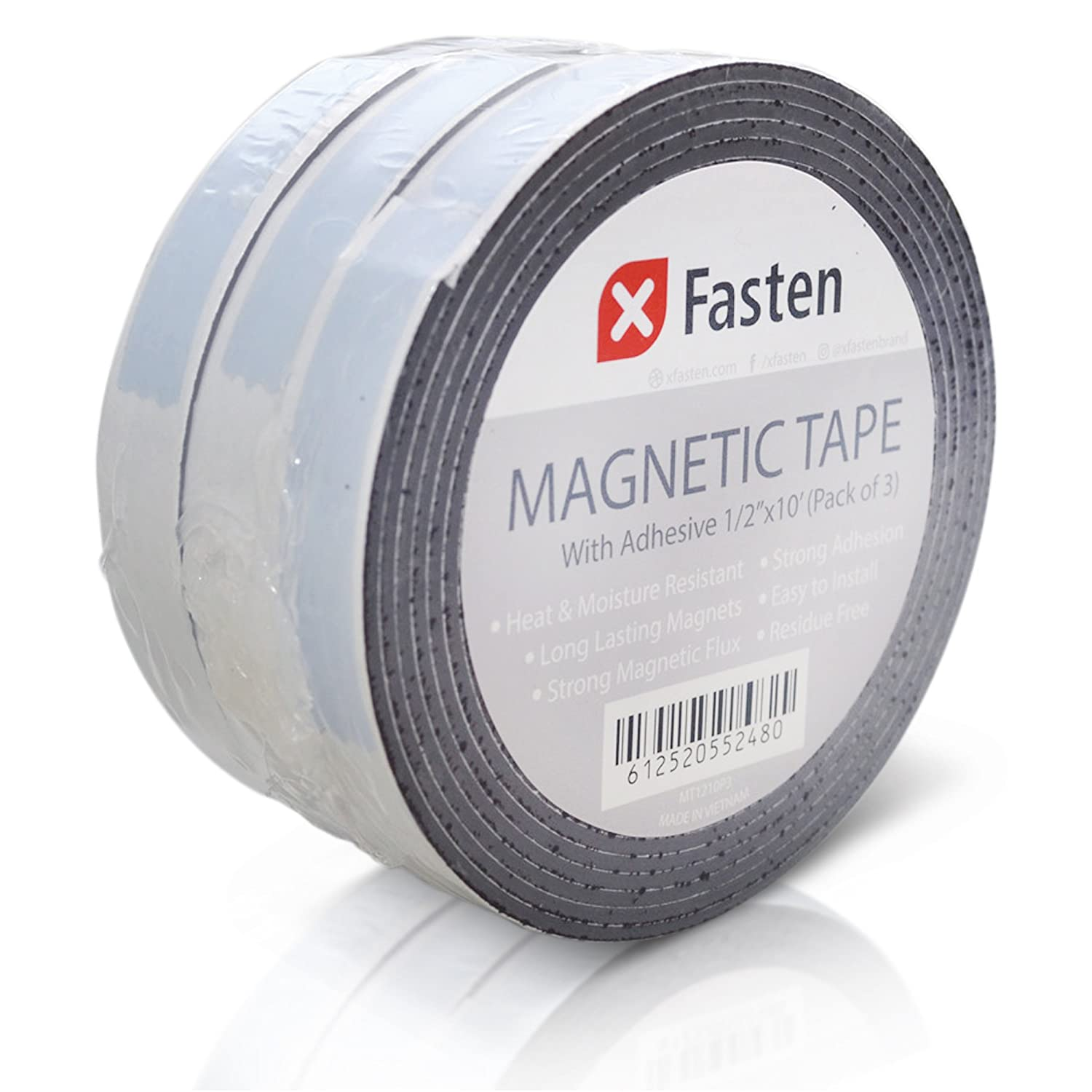 XFasten Flexible Strong Self Adhesive Magnetic Tape Roll, 1/2-Inch x 10-Foot, Pack of 3, Stick on Magnetic Strips with Adhesive Backing MT1210P3