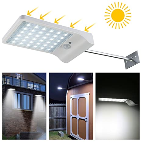 LEDMO Luces sensor solares LED,36 leds foco solar sensor led,IP65 Impermeable luz