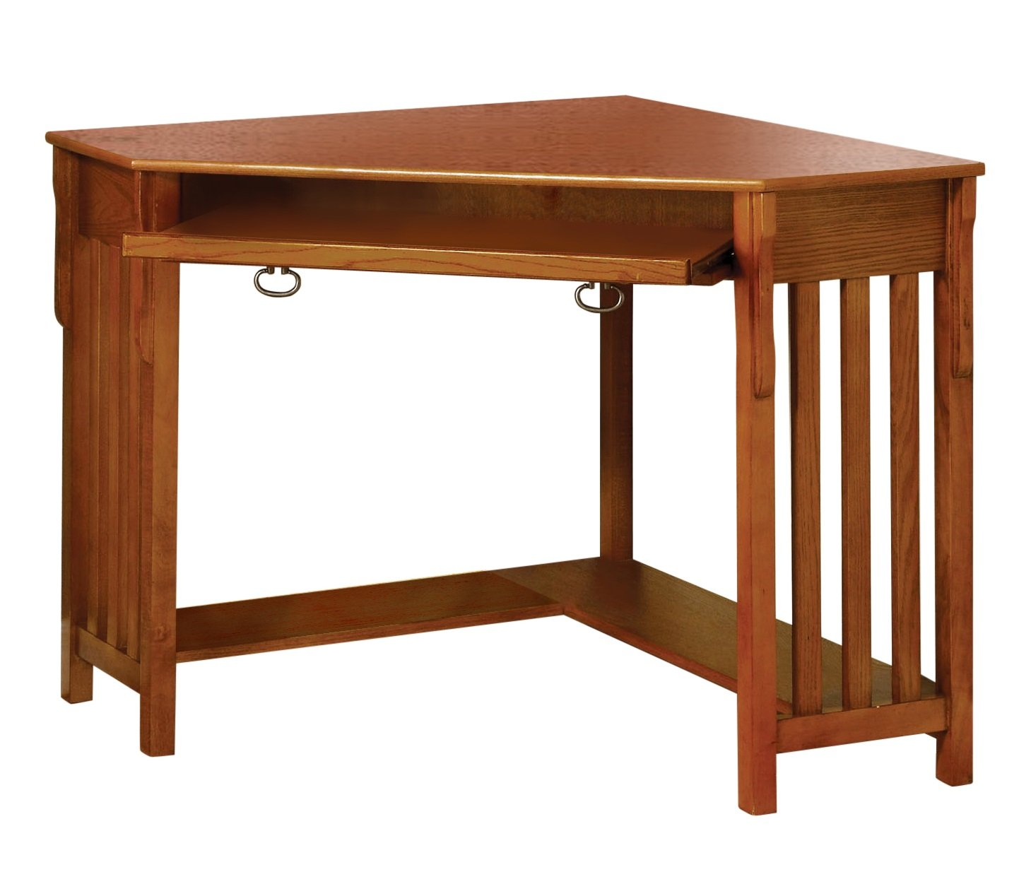 Furniture of America Athosia Mission Style Corner Computer Desk, Medium Oak Finish by Furniture of America