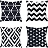 4 Packs Hippih Comfortable New Living Decorative Throw Pillow Case 18×18 Inch Pillowcases for Home Sofa ,1x Plus + 1x Geometry + 1x triangle + 1x Zig Zag Chevron