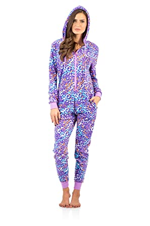 Women's Microfleece Hooded One Piece Pajama Union Jumpsuit - Pink Lavender Leopard - X-Large