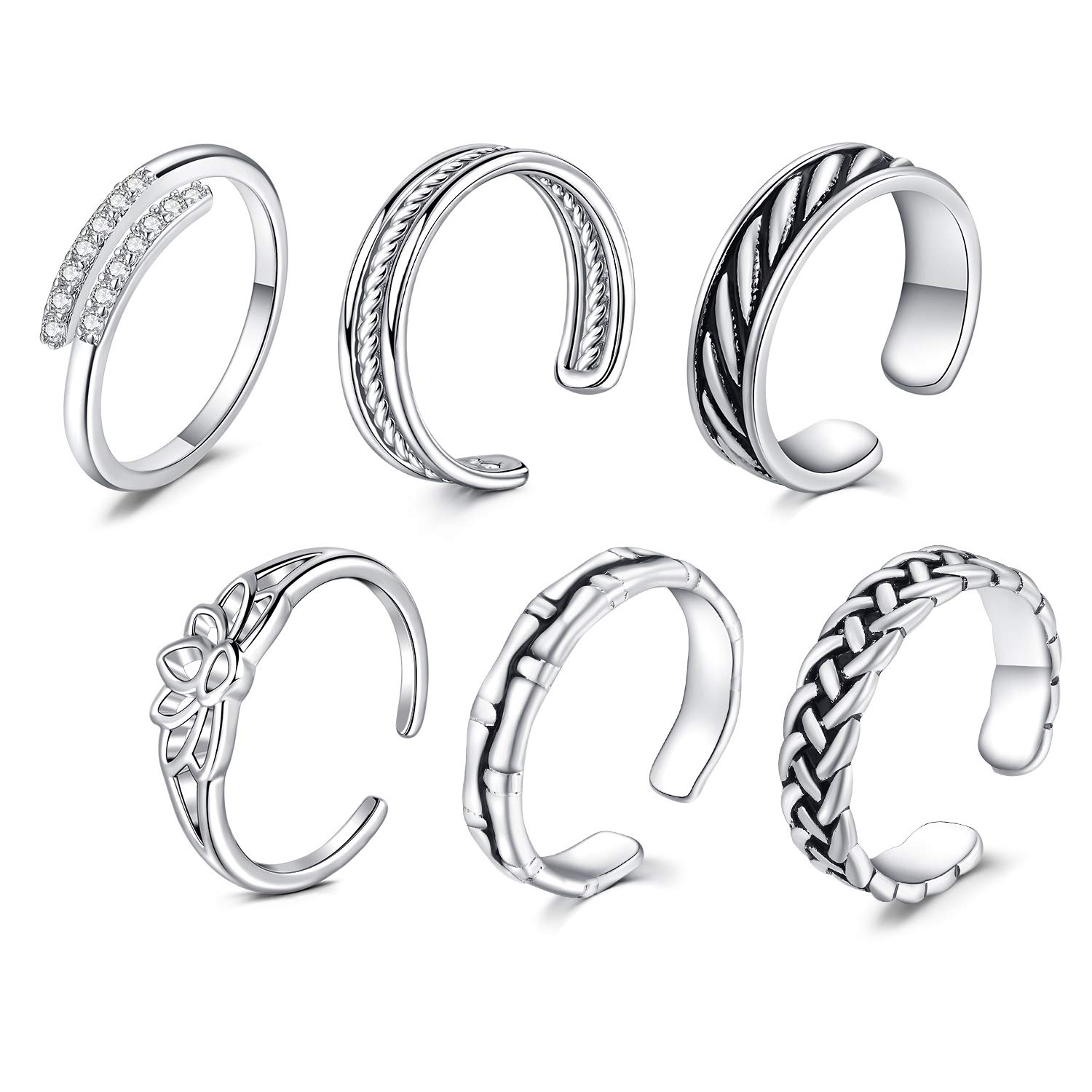 MODRSA Stainless Steel Toe Rings for Women Men Silver Pack Adjustable Simple Open Band Vintage Joint Knuckle Tail Ring Hypoallergenic Foot Fingers Jewelry