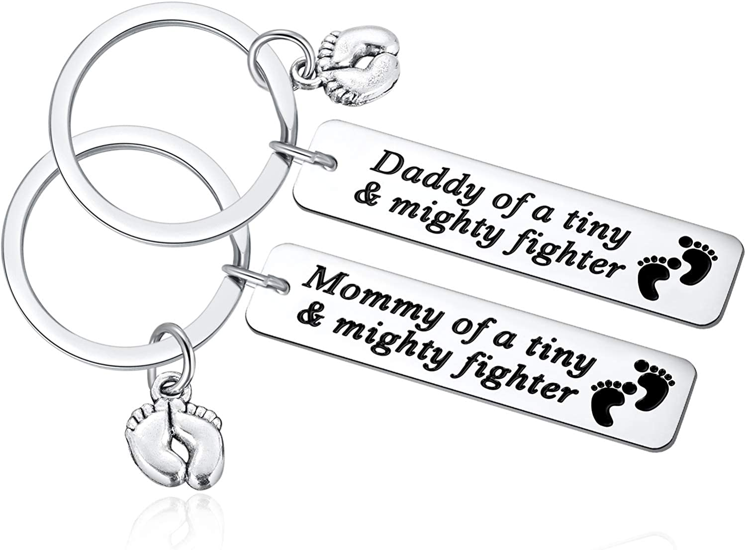 Ralukiia NICU Dad Mom Preemie Baby Gift - Mommy/Daddy of A Tiny Mighty Fighter Keychain Support NICU Parents Care Basket Neonatal Intensive Care Unit Gift