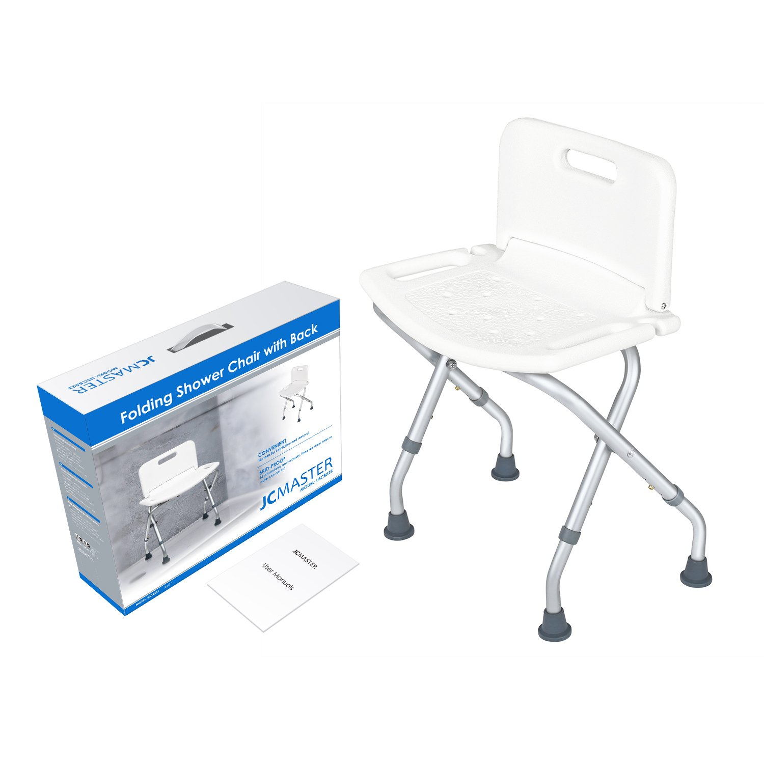 Amazon.com: JCMASTER Collapsible Shower Bench with Back for Adult ...