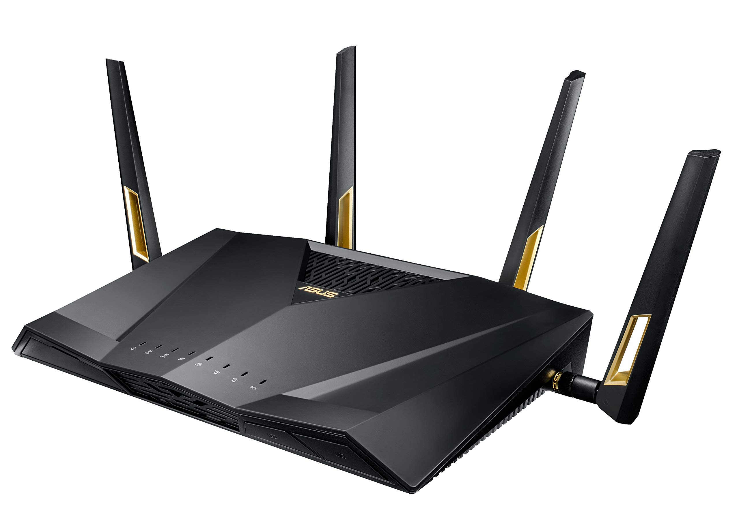 ASUS RT-AX88U AX6000 Dual-Band WiFi Router, Aiprotection Lifetime Security by Trend Micro, Aimesh Compatible for Mesh WiFi System, Next-Gen WiFi 6, Wireless 802.11Ax, 8 X Gigabit LAN Ports 1 Next-gen Wi-Fi standard - 802.11Ax Wi-Fi standard for better efficiency and throughput. Ultrafast Wi-Fi speed - 6000 Mbps Wi-Fi speed to handle even the busiest network with ease. Wider usage and more convenience - 4 antennas + 8 LAN ports to support more clients at the same time.
