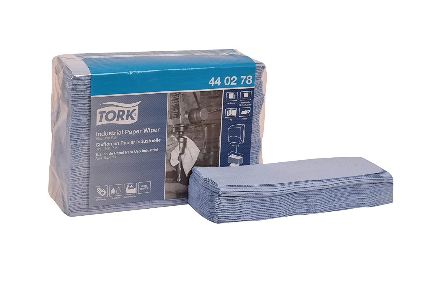 Tork 440278 Industrial Paper Wiper, Top-Pak, 4-Ply, 12.8
