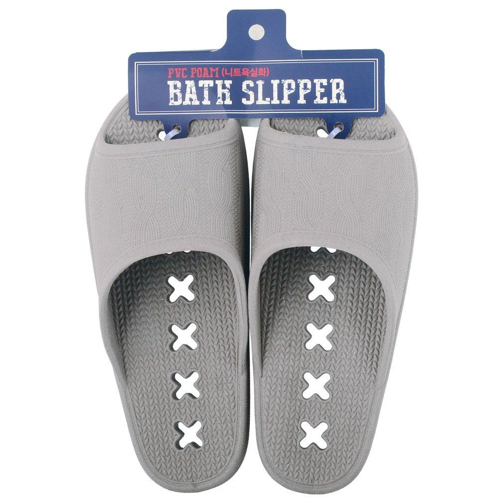 Slip on shower slippers for Men Women - Non slip skid comfy bathroomg slippers sandals (Men Gray)