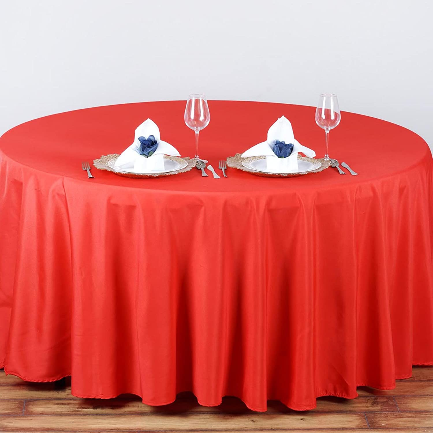 Linentablecloth 90 Inch Round Polyester Tablecloth Red Ebay