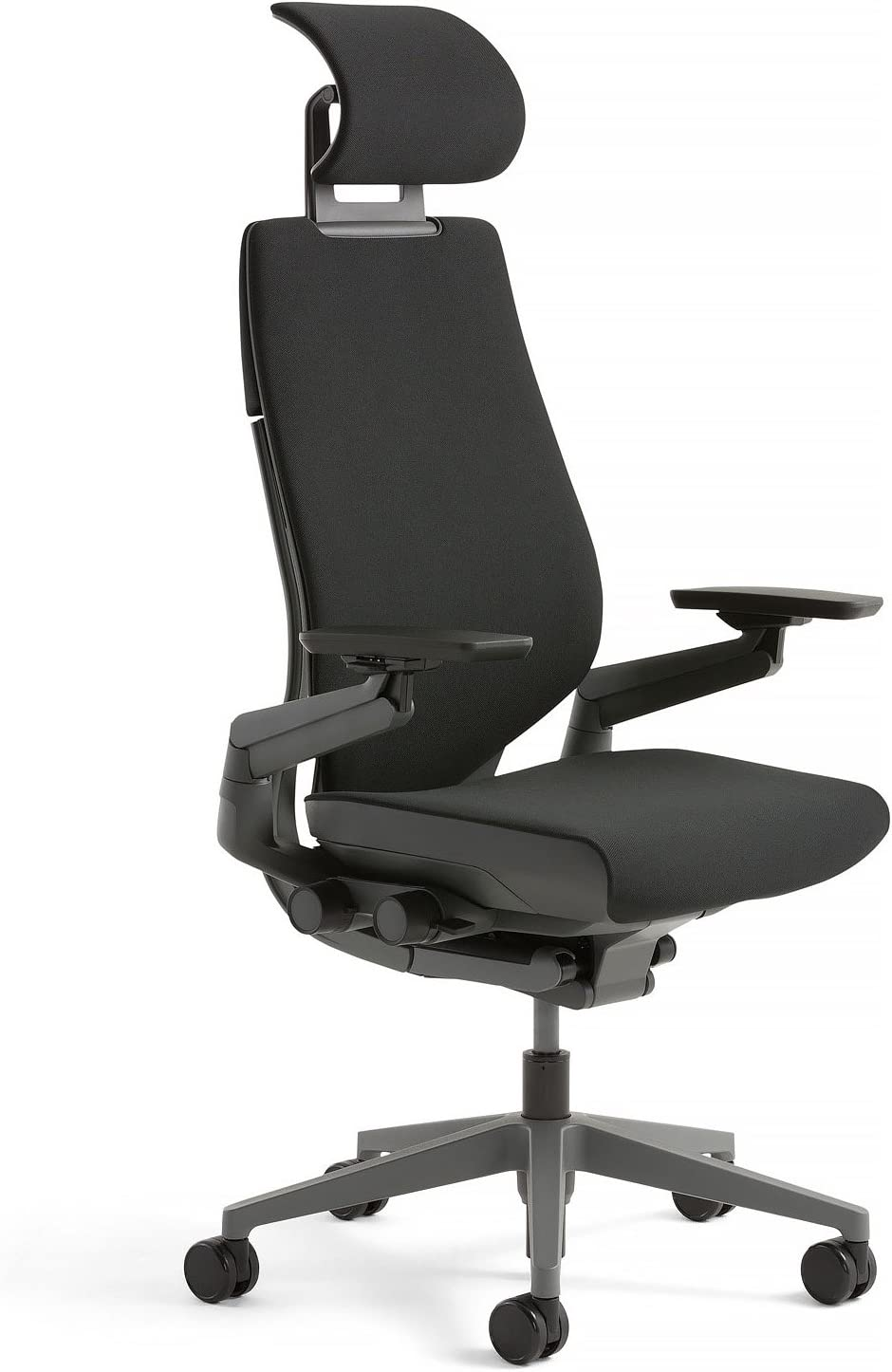 Steelcase Gesture Office Desk Chair with Headrest Plus Lumbar Support Cogent Connect Licorice Fabric High Black Frame