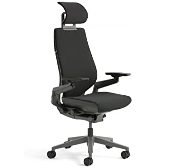 Amazing Steelcase Gesture Office Desk Chair With Headrest Plus Lumbar Support  Cogent Connect Licorice Fabric Standard Black