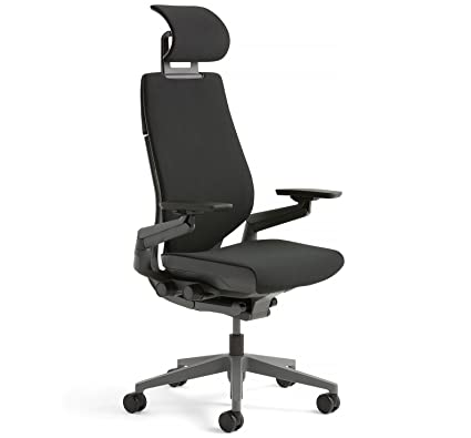 steelcase gesture office desk chair with headrest plus lumbar support cogent connect licorice fabric standard black - Steelcase Office Chairs