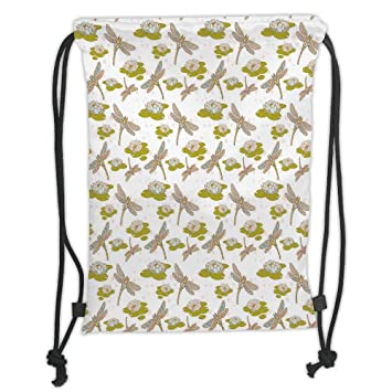 PPOOia Drawstring Backpacks Bags,Dragonfly,Asian Lotus ...
