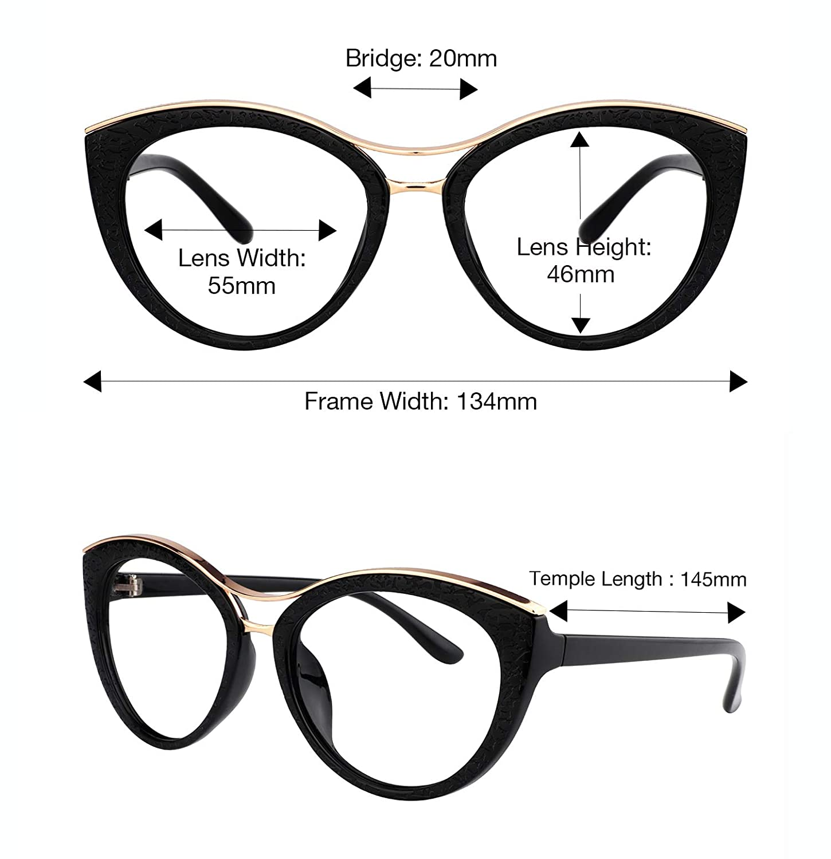 ae8fac207951 Amazon.com  Zeelool Women s Super Stylish Cat Eye Glasses Non-prescription  Eyewear Frame with Clear Lens Carol FX0772-01 Black  Clothing