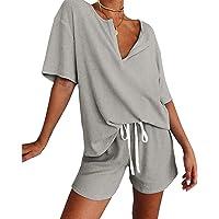 Werstand Dam pyjamas set lounge-set kortärmad toppar och shorts 2 delar pyjamas set sovkläder sovkläder lounge…