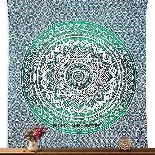Green Ombere Double Bedspreed Tapestry Wall Hanging mandala Green Cotton Bedspreed Size 95X85,Ombre Mandala Tapestries, Boho Tapestries, Beach Sheet Tapestry, Queen Ombre Gift Hippie tapestries, Plane