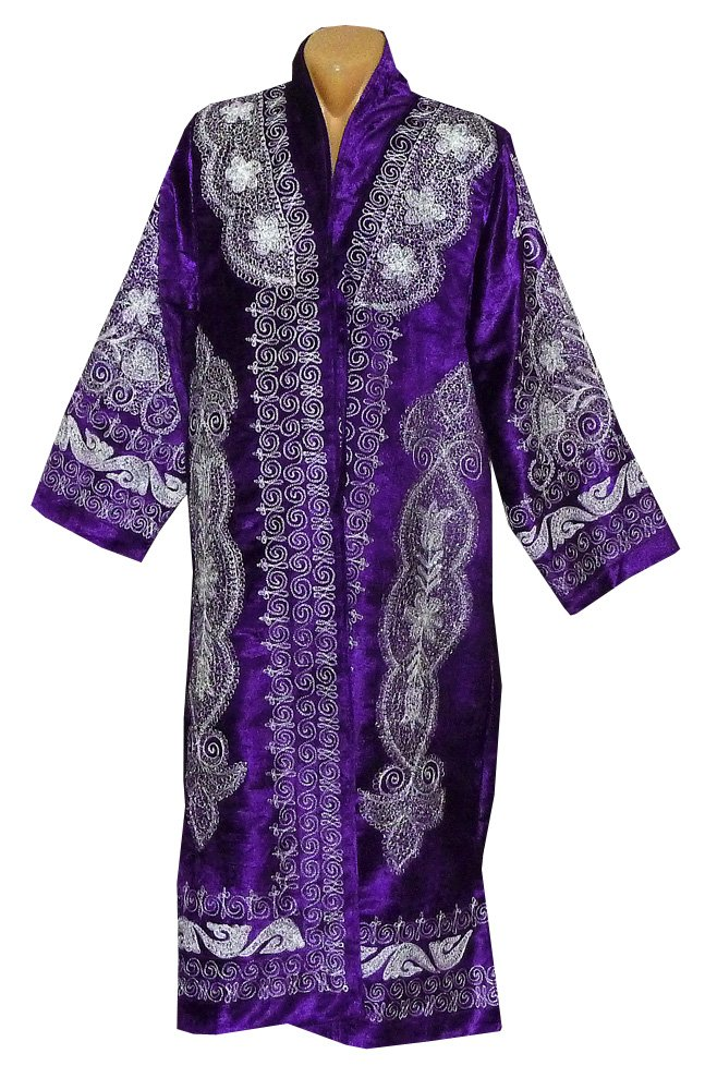 STUNNING UZBEK SILVER SILK EMBROIDERED ROBE CHAPAN FROM BUKHARA A8510