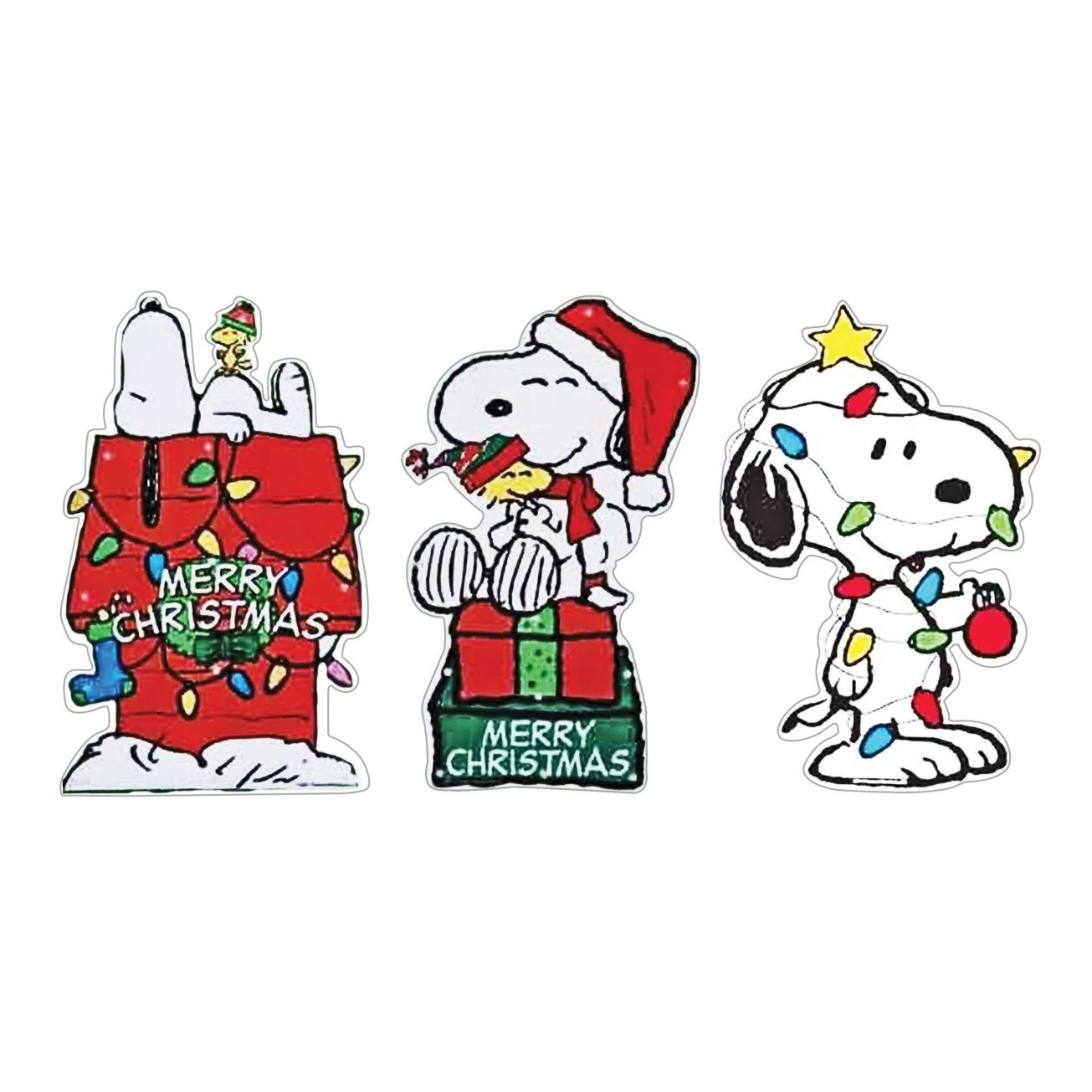 Product Works Prelit 2d Snoopy Peanuts Window Decor Assortment, 15'' (Pack of 12)