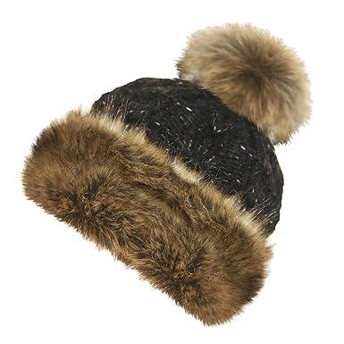 TOSKATOK® LADIES ROCKJOCK LUXURY FUR FLEECE LINED BOBBLE HAT WITH FUR TRIM  AND POMPOM-BLACK  Amazon.co.uk  Clothing 7edf46a337f