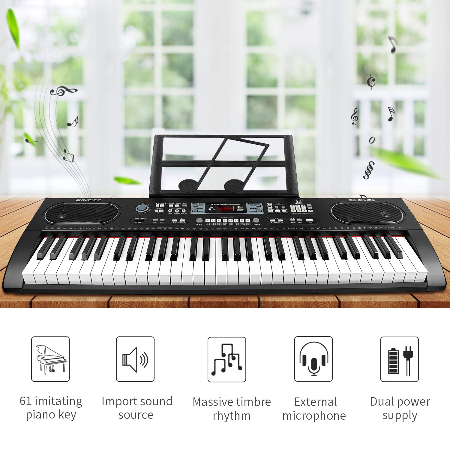 ZJTL 61-Key Digital Electric Piano Keyboard &Music Stand &microphone- Portable Electronic Keyboard (Kids & Adults) MQ-6133 by ZJTL (Image #2)