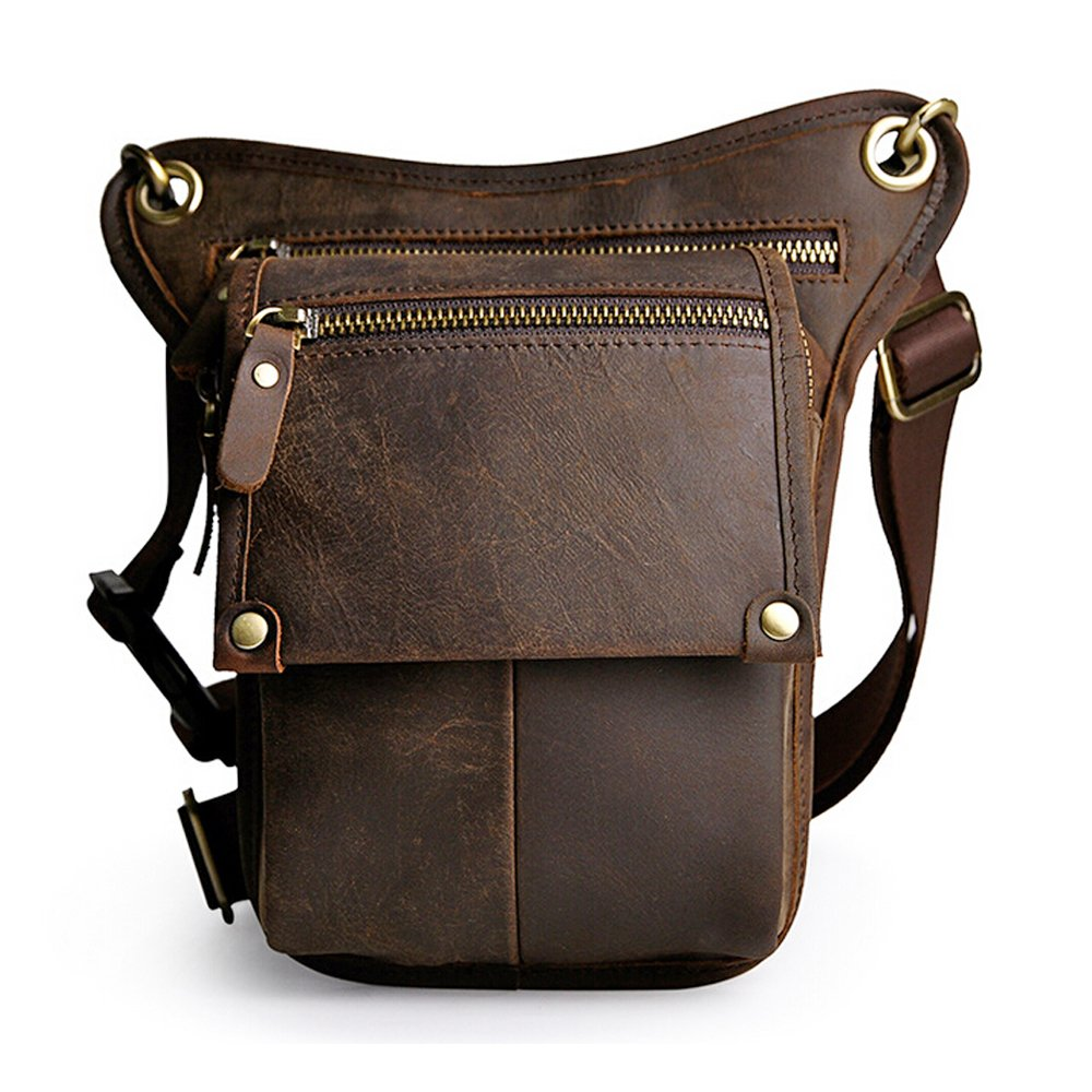 Boshiho Mens Genuine Leather Bumbag Waist Belt Drop Leg Cross Over Bag (Dark Brown)