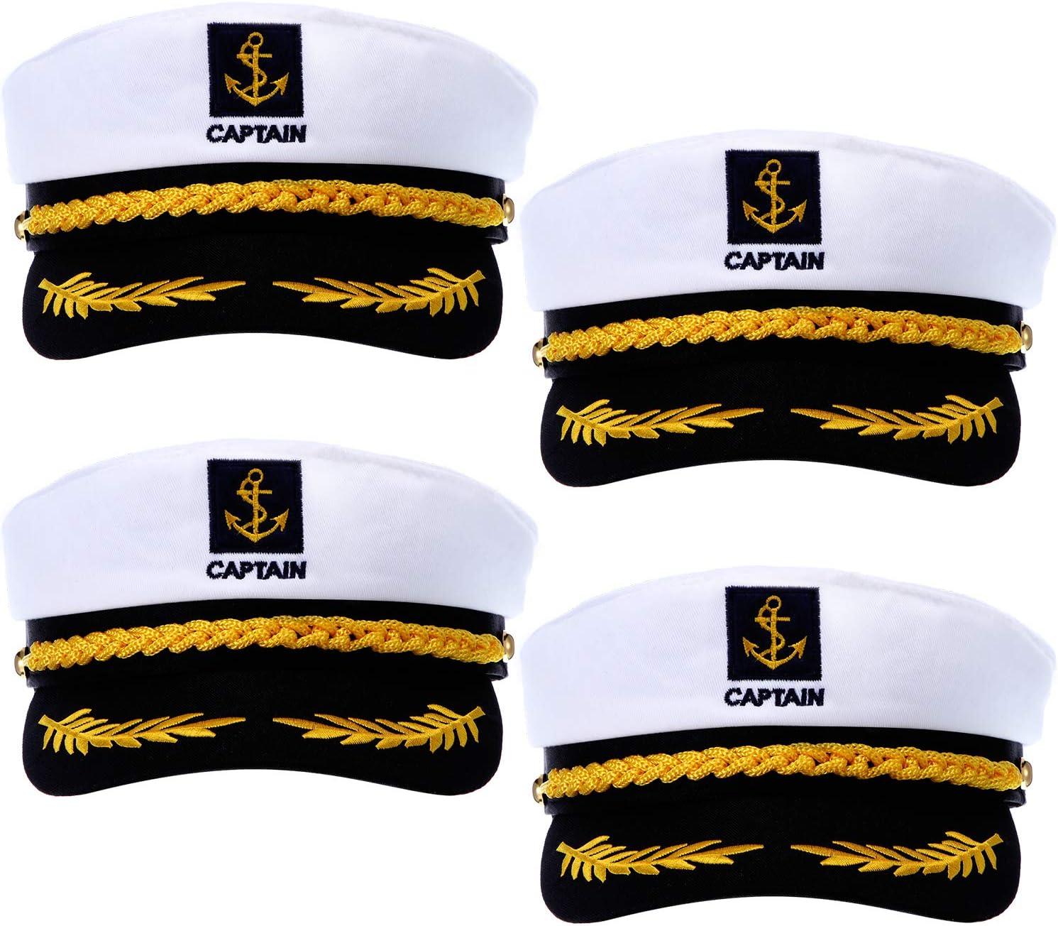 SATINIOR 4 Pieces Navy Marine Admiral Style Hat Adjustable Sailor Ship Cap Yacht Boat Captain hat for Men Women Costume Favor