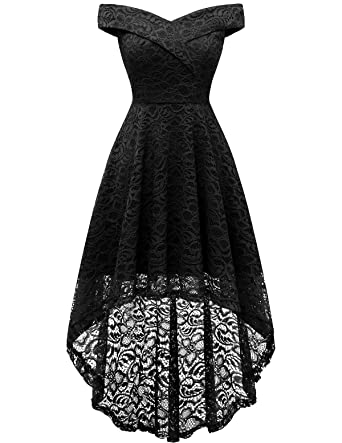 389d3a39e8 Homrain Women's Off Shoulder Hi-Lo Floral Lace Dress Vintage Elegant  Cocktail Party Wedding Dresses