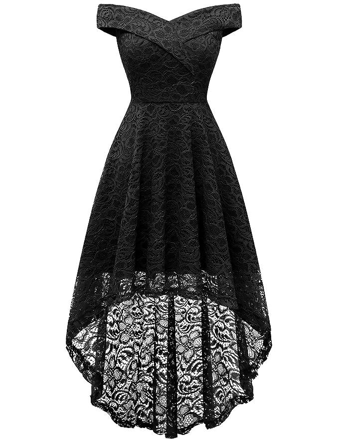 Homrain Vestido Cóctel Vintage Alínea Hi-Lo Elegante Encaje Fiesta Noche Vestido para Mujer