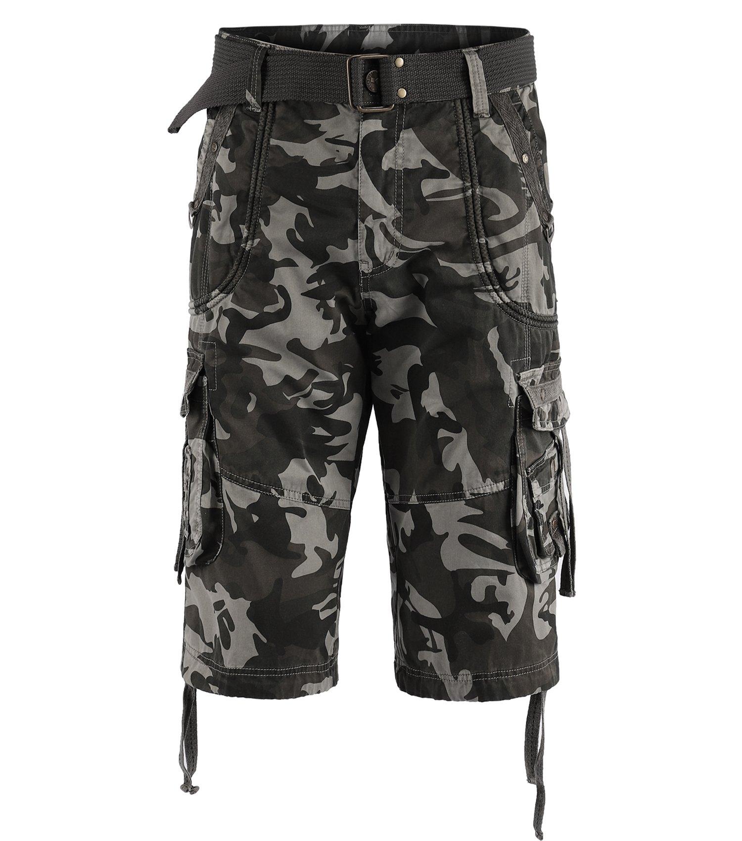 TWO BLOCKS OFF Men's Classic-Fit Cargo Short/Waist Belt/Multiple Pockets Sand Storm Camo Size 36