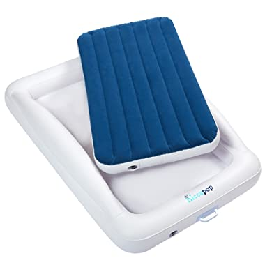 hiccapop Inflatable Toddler Travel Bed with Safety Bumpers | Portable Blow Up Mattress for Kids with Built in Bed Rail