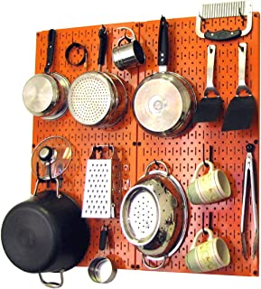 product image for Wall Control Kitchen Pegboard Organizer Pots and Pans Pegboard Pack Storage and Organization Kit with Orange Pegboard and Black Accessories