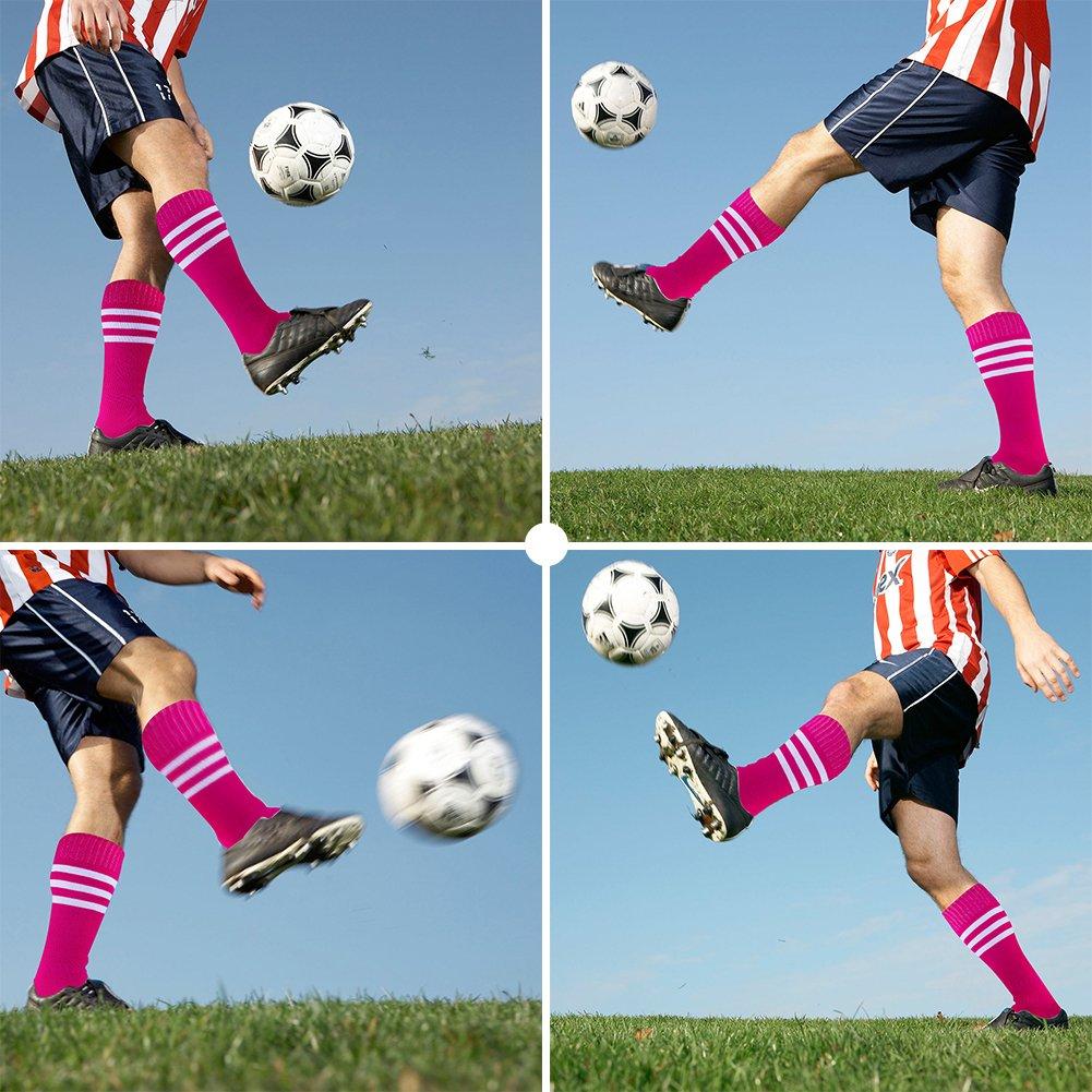 c486078b0f1 ... Dodove Unisex Soccer Athletic Knee High Triple Stripe Tube Sock 2 4 6  Pairs ...